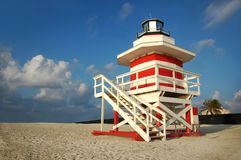 Lighthouse Outpost. Lifeguard's outpost tower in South Beach, Miami, Florida Stock Photos