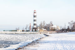 Lighthouse. Outside was cold -15degress in Latvia, bolderaja breakwater Royalty Free Stock Photography