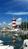 Lighthouse over the marina Royalty Free Stock Photos