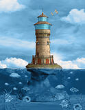 Lighthouse. Over a rock in the middle of the ocean Royalty Free Stock Photography