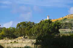 Lighthouse overlooking countryside Stock Images