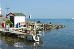 Lighthouse Paard在下午,北荷兰省的van Marken 库存图片