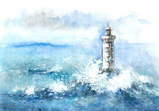 Lighthouse. Painting of Storm at Sea vector illustration