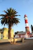 Lighthouse and Palm, Swakopmund, Namibia. The landmark Swakopmund lighthouse, Namibia, Southern Africa Royalty Free Stock Photos