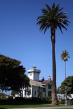 Lighthouse and Palm Trees. Pt. Fermin Lighthouse in San Pedro Royalty Free Stock Images