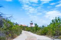 Lighthouse at palms beach Royalty Free Stock Photos