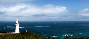 Lighthouse Panorama. Lighthouse at Cape Otway, Victoria, Australia, commissioned in the 1830's, looking out over the wild Southern Ocean royalty free stock photo