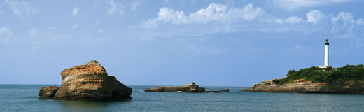 Lighthouse panoramic. Panoramic view of a lighthouse and biarritz coast, France Stock Photos