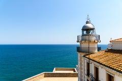 Lighthouse Of Papa Luna Castle In Peniscola Stock Image