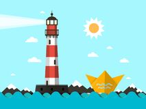 Lighthouse with Paper Boat on Ocean Waves. Vector Landscape stock illustration