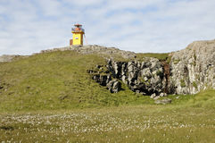 Lighthouse of Papey island, Iceland. Stock Photos
