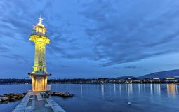 Lighthouse at the Paquis, Geneva, Switzerland, HDR Royalty Free Stock Image