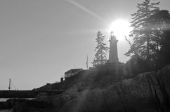 Lighthouse Park. Monochrome shot of a Lighthouse at Sunset Royalty Free Stock Photography