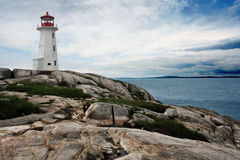 Lighthouse on Peggy's Cove Royalty Free Stock Photography