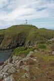 Lighthouse on the Pembrokeshire Coast, St Davids Bay. Stock Image