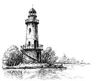 Lighthouse pencil drawing. Etch style Royalty Free Stock Photography
