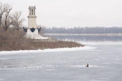 Lighthouse on peninsula Sarpinsk winter fishing ice g Volgograd Stock Images