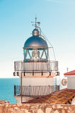 Lighthouse in Peniscola Castle, close-up. Stock Photography