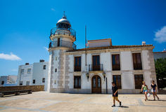 Lighthouse of Peniscola, Spain. Lighthouse of Peniscola Costa del Azahar, Castellon, Valencian Community. Spain Stock Photo