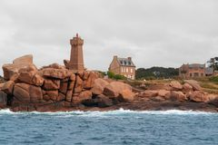 Lighthouse at Perros-Guirec. Lighthouse around Perros-Guirec at the Pink Granite Coast in Brittany, France Royalty Free Stock Photography