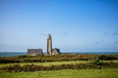 Phare du Cap Levi Fermanville Manche Normandie France. Lighthouse - Phare du Cap Levi. Destroyed in 1944 during the Second World War, the current lighthouse was royalty free stock images