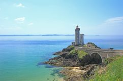 Lighthouse Phare du Petit Minou, France. Lighthouse Phare du Petit Minou at the roadstead of Brest, Finistere, Brittany, France royalty free stock images
