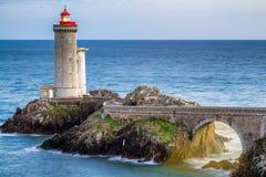 Lighthouse Phare du Petit Minou in Plouzane, Brittany Bretagne, France.  royalty free stock photo