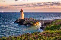Lighthouse Phare du Petit Minou in Plouzane, Brittany (Bretagne), France. royalty free stock images