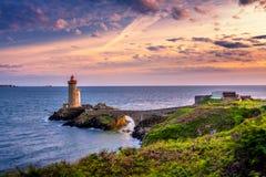Lighthouse Phare du Petit Minou in Plouzane, Fort du Petit Minou, Brittany (Bretagne), France. stock images
