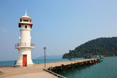 Lighthouse on a  pier Royalty Free Stock Images