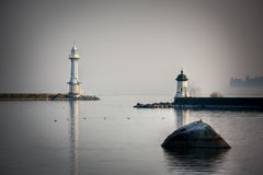 Lighthouse on the pier in Geneva stock photography