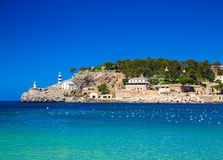 Lighthouse at the pier of Port de Soller Royalty Free Stock Photo
