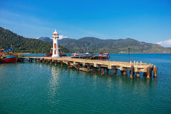 Lighthouse on a pier in Thailand Royalty Free Stock Photos