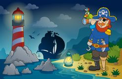 Lighthouse with pirate theme 3 Royalty Free Stock Image