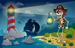 Lighthouse with pirate theme 1 Royalty Free Stock Photo