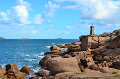 The lighthouse of Ploumanac'h, Brittany. The lighthouse of Ploumanach, Cote de granit rose in North Brittany, France royalty free stock photos