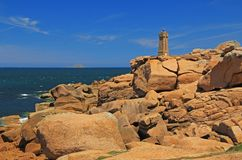 Lighthouse of Ploumanac'h, Brittany, France Stock Photo