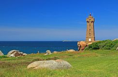 Lighthouse of Ploumanac'h, Brittany, France Royalty Free Stock Images