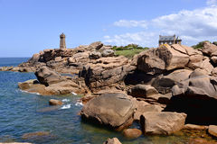 Lighthouse of Ploumanac'h in France Stock Photo
