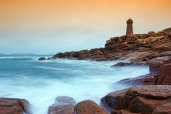 Lighthouse of Ploumanach , Brittany Stock Photography