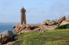 Lighthouse of Ploumanach in Brittany Stock Image