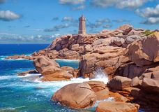 Lighthouse,Ploumanach,Brittany,France. Famous Lighthouse of Ploumanach in Brittany,North Sea,Channel,France Stock Image