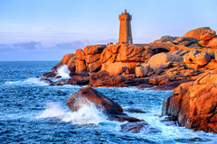 Lighthouse of Ploumanach  on Cote de Granite Rose, Brittany, France Royalty Free Stock Image