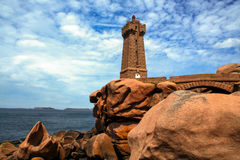 Lighthouse  at Ploumanach, on the  pink granite coast, Brittany, France Stock Image