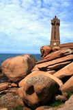 Lighthouse  at Ploumanach, on the  pink granite coast, Brittany, France Stock Photography