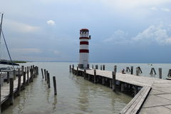 Lighthouse in Podersdorf am See, Neusiedler See, Austria. Famous Lighthouse in coast of beautiful lake Neusiedler See in Austria, in port town Podersdorf am See royalty free stock photos