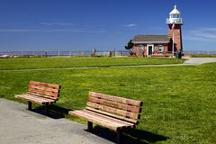Lighthouse Point, Santa Cruz, California. Lighthouse Point aka Santa Cruz Point. Santa Cruz, California, USA.The Point features a surfing museum in a lighthouse stock photography