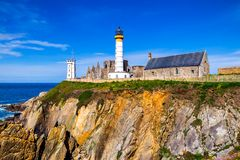 Lighthouse Pointe de Saint-Mathieu, Brittany Bretagne, France.  stock images