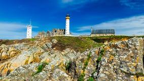 Lighthouse Pointe de Saint-Mathieu, Brittany Bretagne, France Stock Photo