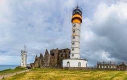 Lighthouse Pointe de Saint-Mathieu, Brittany Bretagne, France Stock Photos